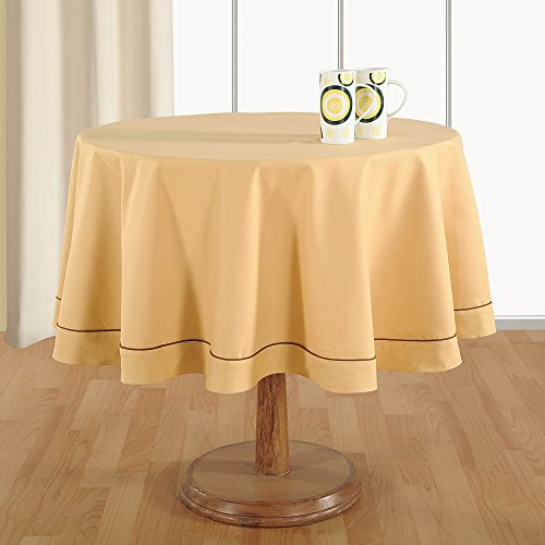 handmade beige table linen 4 seater round tablecloth premium cotton fabric 60 inch diameter. Black Bedroom Furniture Sets. Home Design Ideas