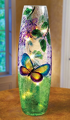 Whimsical Lighted Hurricane Glass Home Accent Decor Table Top Vase Lamp (Butterfly) (Tabletop Candles Hurricane Lamps compare prices)