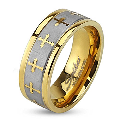 6Mm Gold Plated Stainless Steel High Polish Finish Celtic Cross W/ Brushed Center Two Tone Band - Size 8