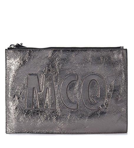 Pochette McQ Alexander McQueen in pelle laminata acciaio