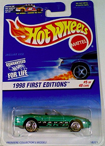 Hot Wheels 1998 First Editions Green Jaguar XK8 Die Cast Car #5 of 48 Premier Collector's Model 1:64 Scale - 1