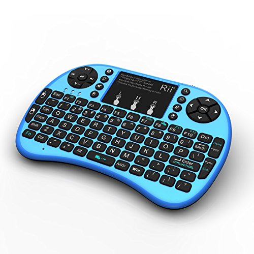 Rii i8+ Mini Wireless 2.4G Back Light Touchpad Keyboard with Mouse for PC/Mac/Android, Blue (MWK08+) primary
