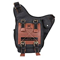 Kattee Canvas Cow Leather Military Sling Backpack Cross Chest Shoulder Bag from Kattee