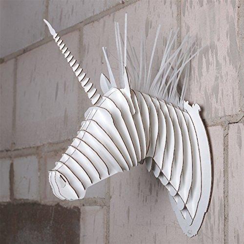 En-carton-WILD-SAFARI-Trophe-Tte-dANIMAL-3D-Buste-tableau-Merlin-LA-LICORNE-m-Blanc