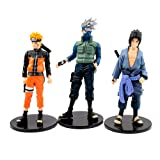 "Japanese Anime - Naruto Shippuden Figure Collection 3-Piece Set - 5"" Figures: Kakashi, Naruto, Sasuke"