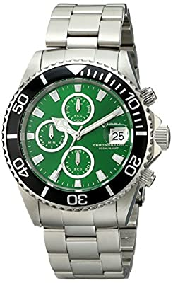 Invicta Men's 1005 Pro Diver Chronograph Green Dial Stainless Steel Watch