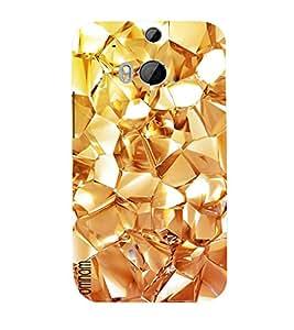 Omnam Golden Pattern Small Desinger Back Cover Case For HTC One M8