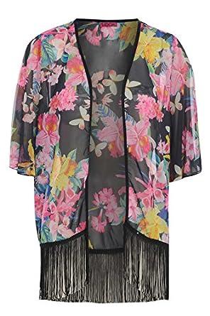 Womens Floral Print Tassel Hem (K11010) Kimono Top Size S/M