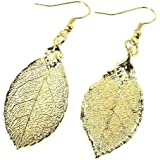 Yellow Gold Dipped Real Mini Rose Leaf Pendant, Earrings or Necklace, Made in USA