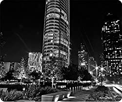 Downtown Dallas Texas Black and White Thick Mousepad by Atomic Market