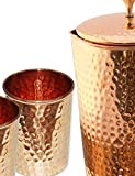 Indian Pure Copper Jug with 2 Tumbler Glass Set for Ayurvedic Healing