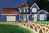 8 Foot Lighted White Christmas Pathway Fence Lawn Stakes - Clear Lights