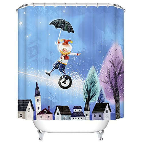 ChezMax Jumping Clown under the Stars Waterproof Fabric Shower Curtain
