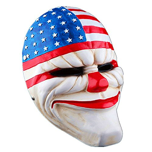 Crazy Genie Hoxton Mask Replica Clown Resin Mask Chains Hoxton Wolf Mask (The Stars & Strips)