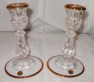 Cristal d 39 arques longchamp gold candlesticks for Arc decoration arques