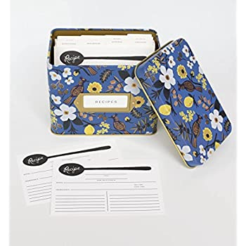 Rifle Paper Co. Capri Blue Recipe File Box With 12 Dividers and 24 Recipe Cards