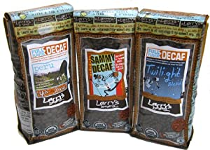 Larry's Beans Fair Trade, Organic, Natural Water Processed Decafs: Decaf Peru, Sammy Decaf Jr., Decaf Twilight Blend.  Whole Bean, 12 Ounce Bags (Pack of 3)