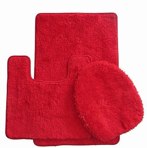 royal plush collection 3 piece bathroom rug set bath mat contour and toilet cover standard round size toilet - 3 Piece Bathroom Rug Sets