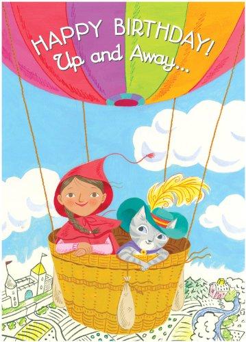eeBoo Little Red & Cat In Balloon Birthday - 1