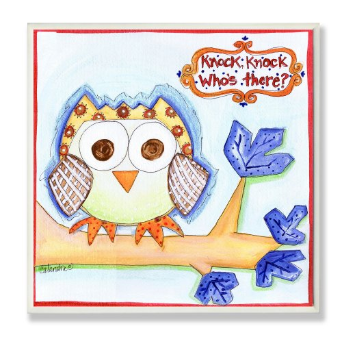 The Kids Room by Stupell Knock Knock Who's There Owl Square Wall Plaque
