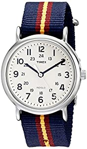 "Timex Unisex T2P2349J ""Weekender"" Watch with Blue and Maroon Striped Nylon Band"