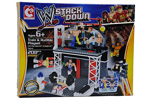 the-bridge-direct-wwe-stackdown-train-rumble-wwe-playset-with-rey-mysterio-sheamus-figures-219-piece