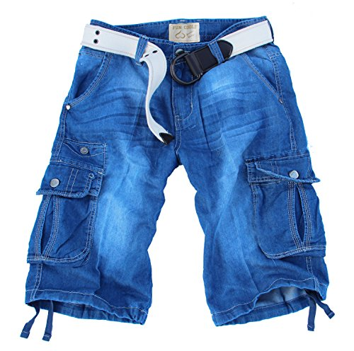 Fun Coolo Pantaloncini corti Jeans leggero Bermuda Cargo short con tasconi laterali, con cintura tg 50 2016
