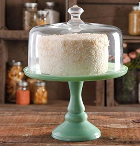 Pioneer Woman Pedestal Cake Plate & Glass Lid Jadeite Color 10 Inch (Milk Glass Pedestal Bowl compare prices)