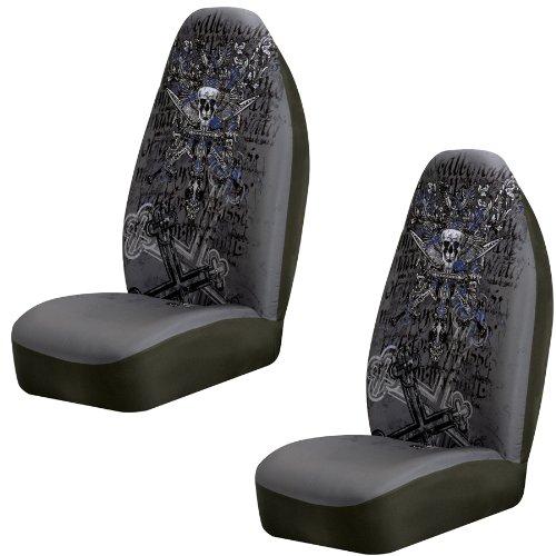 Skull Rose Tatto 6pc Car Seat Cover Accessories Set