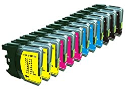 12 Pack Compatible Brother LC-61 Cartridges - 3 each of Black/ Cyan/ Magenta/Yellow
