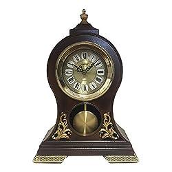 Elegant, Decorative,grandfather Clock Hand Painted Wood Modern Mantel with Swinging Pendulum Shelf,tabletop,desk,buffet, Color Brown,Alligator,Crocodile leather Design