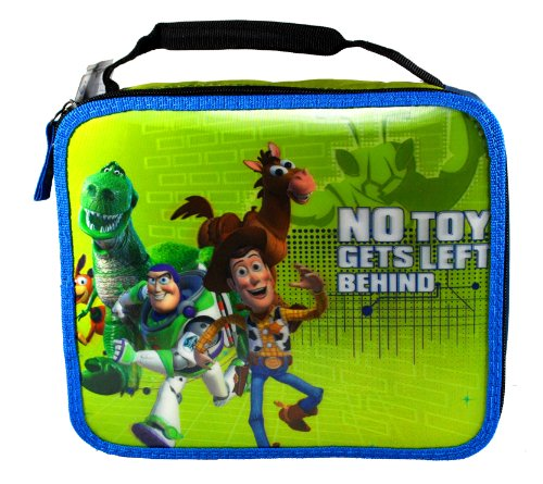 "Microban Disney Pixar Movie Series ""Toy Story"" No Toy Gets Left Behind Single Compartment Soft Insulated Lunch Bag with 3-D Image of Buzz Lightyear, Sheriff Woody, Rex, Bullseye and Slinky Dog (Bag Dimension: 9-1/2"" x 8"" x 3"") - 1"