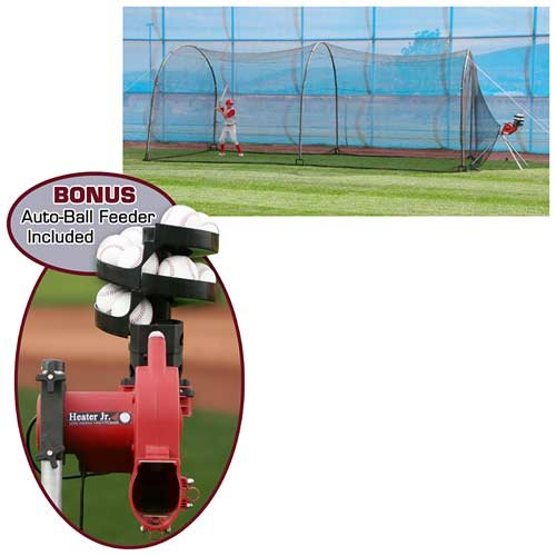 Heater Trend Sports Heater Jr. Pitching Machine and Xtender 24 Batting Cage