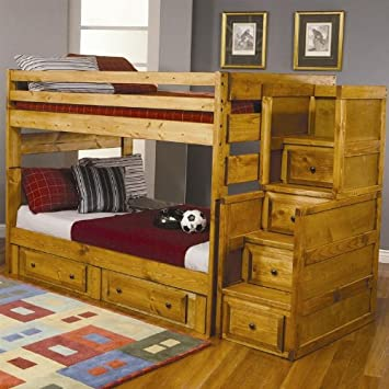 Simple Full Size Bunk Bed with Stairway Chest in Amber Wash Finish