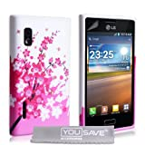 Yousave Accessories Silicone Floral Bee Gel Case for LG Optimus L5 E610 - Pink/White