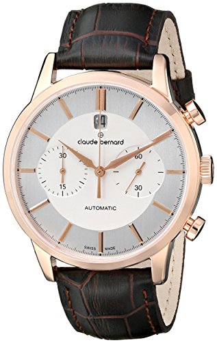 Claude-Bernard-Mens-08001-37R-AIR-Classic-Automatic-Chronograph-Analog-Display-Swiss-Automatic-Brown-Watch