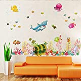 Amaonm Under the Sea Decals Whales The Deep Blue Sea Decorative Peel Vinyl Wall Stickers Wall Decals Removable Decors for Bedrooms Kids Rooms Baby Nursery Boys and Girls Bedroom (Color: colorful)