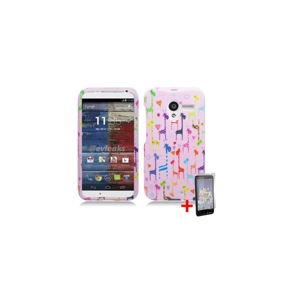 MOTOROLA MOTO X PHONE COLORFUL GIRAFFE ANIMAL COVER SNAP ON HARD CASE + SCREEN PROTECTOR from [ACCESSORY ARENA]