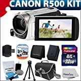 Canon VIXIA HF R500 Full HD Video Camcorder (White) With Extra Battery + Case + 32GB Class 10 Memory Card With Must Have Accessory bundle
