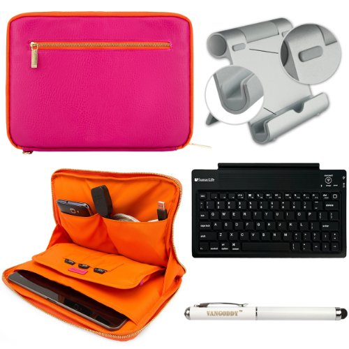 Faux Leather Carrying Bag Sleeve Case For Verizon Ellipsis 7 Hd Tablet 4G Lte + Bluetooth Keyboard + Metal Stand + Stylus Pen