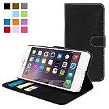Snugg iPhone 6 Plus Case - Leather Flip Case with Lifetime Guarantee (Black) for Apple iPhone 6 Plus