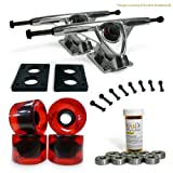 LONGBOARD Skateboard TRUCKS COMBO set w/ 71mm WHEELS + 9.675″ Polished / Black trucks Package