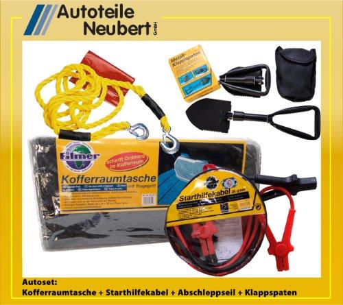 Kofferraumtasche + Abschleppseil + Starthilfekabel