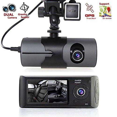 """Car DVR Dash Cam,Hosamtel 2.7"""" Vehicle Car DVR Camera Video Recorder Dash Cam G-Sensor GPS Dual Len Camera"""