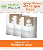 3 Kenmore Type B 85003 Allergen Bags; Fits 24196, 20-24196 and 115.2496210 Straight Extra-suction canister models & Oreck Quest MC1000 Canister Vacuums;Compare to Part # 24196, 20-24196, 634875,115.2496210, 0-24196, 24196, 02053278000 and 634875;Designed & Engineered by Crucial Vacuum