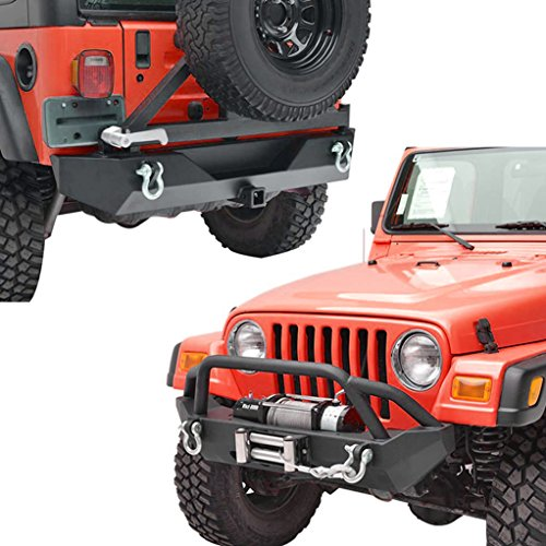 X-restyling Black Textured YJ TJ Wrangler Front and Rear Bumper with Tire Carrier Combo