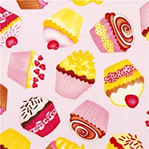Amazon.com: pale pink designer fabric with tossed cupcakes USA (per 0