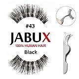 JABUX False Eyelashes Black #43 Classic Glamorous Perfect for Beginners Reusable Glamorous 3 Pairs Fake Eyelashes(Free Eyelash Applicator Tool Fish Tail Clip)