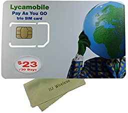 Lyca Mobile Triple Cut SIM Card with $23 Month Unlimited International Plan. Nano / Micro / Standard LycaMobile 4G LTE SIM Card All in One Prefunded Preloaded Activation Kit($23 Monthly Plan)