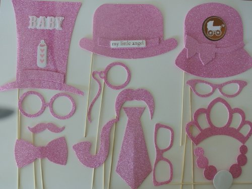 Baby Shower Its a Girl 14 Pc Photo Booth Party Props Pink Photo Booth Props Mustache on a Stick